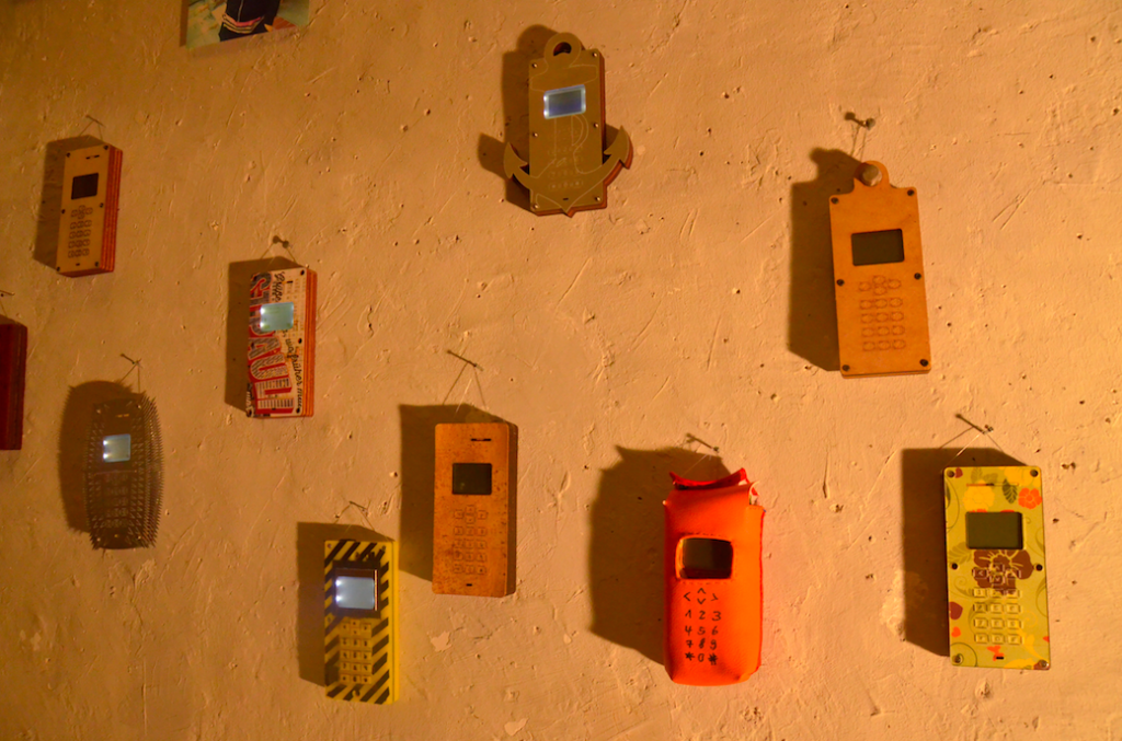 some DIY-Cellphones on a wall